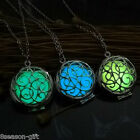 Gift  Dull Silver Tone Hollow Out Oil-drip Luminous Round Pendant Necklace