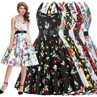 PLUS SIZE XS-3XL Floral 50s VINTAGE Style PIN UP Swing Evening Party Tea Dress