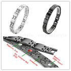 Men's Steel 4in1 Bio Magnetic Square Male Face Chain Therapy Bracelet Wristband