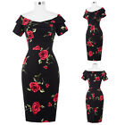 FLORAL V-Neck Bodycon VINTAGE Dresses Cocktail Evening Party Pencil Midi Dress