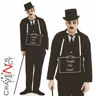 Adult 1920s Silent Film Costume Mens Charlie Chaplin 20s Fancy Dress Outfit New