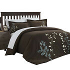 Kathy Kaylee Floral Embroidered 7 Piece Duvet Cover Set King & Queen Brown