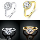 GIFT  New Women Round Fashion Simple Crystal Zircon Auger Ring Jewelry Size 8