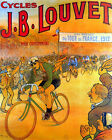 POSTER 1912 TOUR DE FRANCE LOUVET BICYCLE RACE CYCLING VINTAGE REPRO FREE S H
