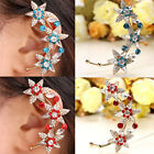1pc Metal Rhinestone Flower Wrap Ear Cuff Clip Earring Fit Left Ear Non Piercing