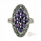 Lg Amethyst Purple Cluster Ring in SOLID 925 Sterling Silver - Sz 8-9-10