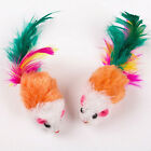 10Pcs Soft Fleece False Mouse Cat Toys Colorful Feather Funny Playing Toys