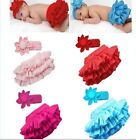 New Baby Girl Ruffle Bloomers TuTu Skirt+Flower Headband set outfit at 0-24M