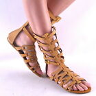 New Sexy Womens Tan Contemporary Midcalf Roman Gladiator Sandal