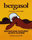 POSTER BERGASOL TOPLESS SUMMER SUN FRIEND FAST BRONZE VINTAGE REPRO FREE S/H