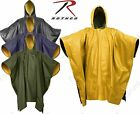 Rothco Reversible Yellow Waterproof PVC Rain Poncho With Drawstring Hood & Snaps
