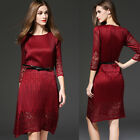 2016 Autumn Dress Red Lace long section was thin Large size Sleeve black