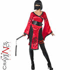 Adult Shadow Warrior Costume Ladies Dragon Ninja Fancy Dress Outfit & Nunchucks