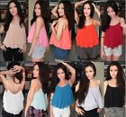 Strappy Flounce Chiffon Double Layer Frilled Ruffle Swing Camisole Cami Vest Top