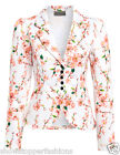 NEW Womens Blazer Ladies Jacket Suit Pink Floral Fitted Size 8 10 12 14 16
