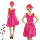 Ladies Pink Troll Pixie Fancy Dress Costume & Wig Fairytale Gnome Adults Womens
