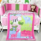 New 6 Pieces Beautiful Baby girl Crib Cot Bedding Quilt Set zoo Theme
