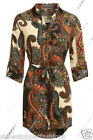 NEW WOMENS LADIES SHIRT PAISLEY DRESS SLEEVE TIE BELT BLOUSE TOP Size 8 to 16
