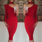 Summer Sexy Fashion Women Party Long Sleeve One Shoulder OL Work Warp Dress A