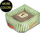 Neutral-Striped Ultra-Plush Easy Wash Squared Designer Fashion Pet Dog Bed Beds