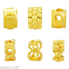 1PC Gold Plated Zinc Alloy Charms Beads Cylindrical Fit Bracelet DIY