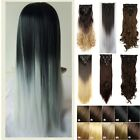 Full head ombre Clip In Hair Extension Wavy Curly Dark Brown to silver Grey MU7c