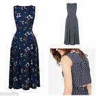 NEW WAREHOUSE SPACED & SQUIGGLE DRESS FLORAL NAVY BLUE VISCOSE MIDI SZ 6 - 16