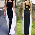 1Pc Stitching Color Long Dress Charming Women Sleeveless Backless Dress