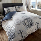 Vintage Nautical Voyage Duvet Cover Set with Map Print Boats & Anchor Design
