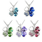 women Four Leaf Clover Pendants Necklaces Crystal Silver Plated Jewelry