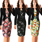 New Women Vintage Long Sleeve OFFICE Cocktail Party Evening Bodycon Pencil Dress