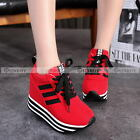 womens shoes size chart - Womens Casual Students Lace Up High Platform Wedge Sneakers Trainer Shoes
