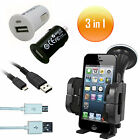 3in1 USB Car Adapter & Micro B USB Data Charger Cable & Car Mobile Phone Holder