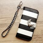Angel wings phone wallet Stripe flip case Stand Card cover For Samsung Note 4 5
