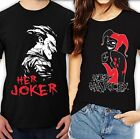 Her Joker and his Harley Love Couple Black T- Shirt