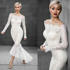 Vintage Off Shoulder Wedding Dress Sheer Lace Long Sleeve Fishtail Bridal Gowns