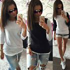 Womens Casual Cotton Loose Pullover T-Shirt Ladies Party Long Sleeve Tops Blouse