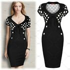 Womens Polka Dots V Neck Cocktail Party Casual Club Bodycon Sexy Pencil Dress