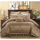 JACQUARD 9 PIECE COMFORTER SET / BED IN A BAG - King / Queen