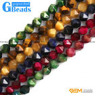 Tiger's Eye Gemstone Faceted Polygonal Beads Free Shipping 15' 6mm 8mm 10mm 12mm