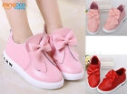New Children Girls Casual Shoes Kids Princess Bow Shoes Non-Slip Size 8-1.5