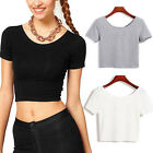Women Halter Cotton Crop Tops Sleeveless Blouse Vest Tank Tops Tee T-Shirt