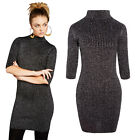 Brave Soul Womens Rib Metallic Knit Funnel Neck 3/4 Sleeve Lurex Bodycon Dress