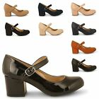 WOMENS CASUAL MARY JANE MID BLOCK HEEL SLIP-ON LADIES PARTY PUMPS COURT SHOES