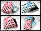 QUALITY JEWELLERY NECKLACE BRACELET PINK BLUE SPOTTED BOW GIFT BOXES PADDED BAG