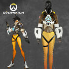 Overwatch Lena Oxton Tracer Cosplay Costume Nanosuit Jacket Gloves Belt Custom