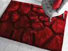 LARGE SOFT CHUNKY THICK SHAGGY PILE 3D STEPPING STONES VERGE BROOK DARK RED RUG