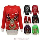 WOMENS LADIES MENS KNIT XMAS CHRISTMAS JUMPER SANTA REINDEER SWEATER PLUS SIZES