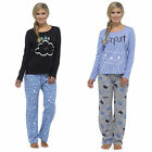 Womens Ladies Warm Lounge wear Pyjama Set  Bottoms Pjs Pants Top Animal Gift