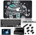 4in1 Black Elephant Painted Rubberized Matte Hard Case Cover For Macbook Pro Air